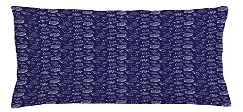 Accents Blue Seashells (Navy Blue Throw Pillow Cushion Cover by Ambesonne, Underwater Ocean Wildlife Inspired Design with Hand Drawn Style Sea Shells, Decorative Square Accent Pillow Case, 36 X 16 Inches, Royal Blue White)