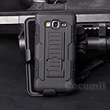 Cocomii Robot Armor Galaxy Grand Prime Case NEW [Heavy Duty] Premium Belt Clip Holster Kickstand Shockproof Hard Bumper Shell [Military Defender] Full Body Dual Layer Rugged Cover for Samsung Galaxy Grand Prime (R.Black)