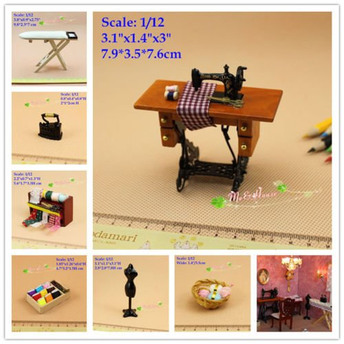 (1:12 Dollhouse Miniature Sewing Room Complete Set Sewing Machine Ironing Board)