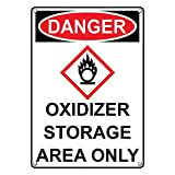 Weatherproof Plastic Vertical OSHA-GHS DANGER Oxidizer Storage Area Only Sign with English Text and Symbol