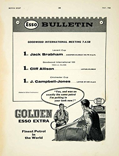 1958 Ad Golden Esso Extra Motor Oil Petrol Auto Racing Lavant Cup Goodwood YMT2 - Original Print Ad Goodwood Cup