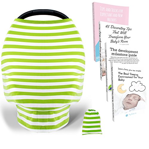 Premium Quality Baby Nursing Cover - Best for Breastfeeding, Car Seat Covers, Stretchy Breathable Carseat Canopy, Shopping Cart, Stroller, Multi-Use Infinity Scarf or Shawl | Boys, Girls, Babies