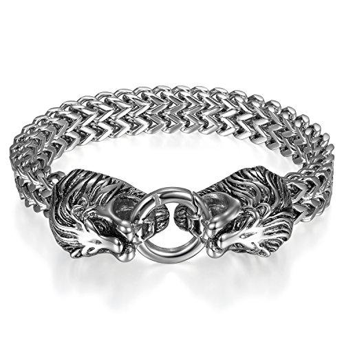 JewelryWe Schmuck Herren Armband, Gotik Biker Doppelt Löwen Kopf Panzerkette Königskette Armkette, Edelstahl, Farbe Silber