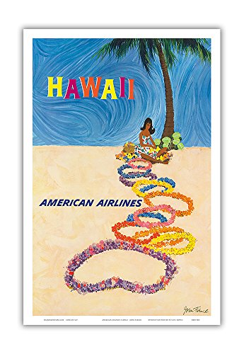Hawaii - American Airlines - Native Hawaiian Girl Making Leis - Vintage Hawaiian Travel Poster by John A. Fernie c.1950s - Hawaiian Master Art Print - 12 x 18in