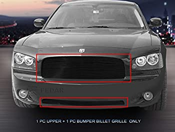 Fedar 05-10 Dodge Charger Replacement and Bolt Over Style Combo Billet Grille Grill 2-pcs Set-Black #320277278