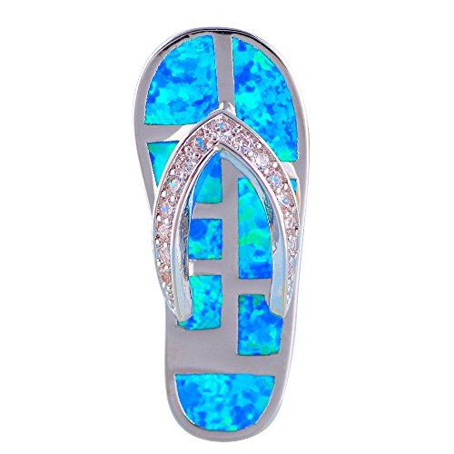 Flip flops Design Blue Fire Opal 925 Silver Necklace Pendants Zircon for Women OPS686
