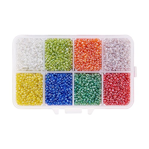 PandaHall Elite Mixed Style 12/0 Round Glass Seed Beads Diameter 2mm About 8000pcs Lustered Transparent Colours with Box Set Value Pack Item Glass Beads Earrings Jewelry