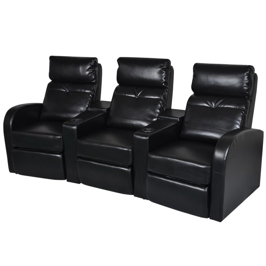 vidaXL Black Artificial Leather 3-Seat Home Theater Recliner Sofa Lounge w/Cup Holder by vidaXL