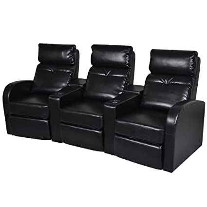 Amazon.com: vidaXL Black Artificial Leather 3-Seat Home Theater ...