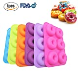 Silicone Donut Molds Muffin Baking Tray Heat Resistance Non-Stick Cake Mold Easy to Bake Full Size Perfect Shaped Doughnuts,Cake Baking Ring, Biscuit Mold(1pc/Random color)