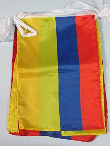AZ FLAG Guirnalda 12 Metros 20 Banderas de Colombia 45x30cm - Bandera Colombiana 30 x 45 cm - BANDERINES: Amazon.es: Jardín