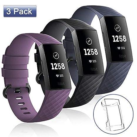 apiker Bracelet pour Montre Fitbit Charge 3, (3+1 pièce) Accessoire Fitbit Charge 3 Bracelet Sport Réglable remplaçable pour Homme et Femmes, ...