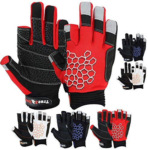 MRX BOXING & FITNESS Sailing Gloves Sticky Palm Gripy Glove Yachting Kayak Dinghy Fishing 2 Cut Finger (Red Small)