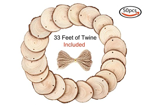 OchPro 50pcs 2.25-2.75 Inch Unfinished Wood Slices with Holes with 33 Feet of Natural Jute Twine for DIY Crafts Christmas Ornaments and Home Hanging Decorations