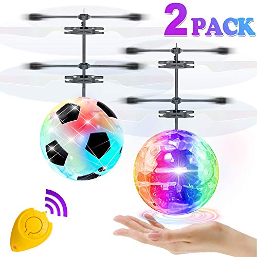 2 Pack Flying Ball Toys, RC Flying Toys for Kids Boys Girls Birthday Gifts Remote Control Drone Helicopter Rechargeable Light Up Ball Infrared Induction RC Drone for Indoor Outdoor Games (Soccer Helicopter Ball)