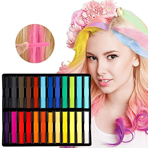 (Kyerivs Hair Chalk Temporary Washable Hair Dye Chalk For Kids Girls Birthday Christmas Gift Party Cospaly Works on All Hair Colors with Disposable Gloves and Shawls 24)
