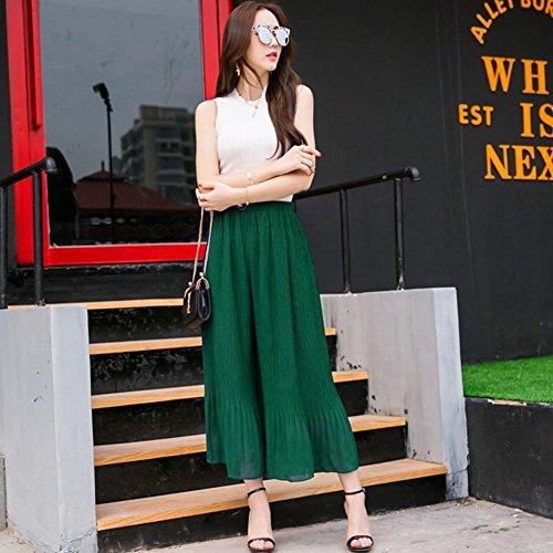 LOCOMO gasa plisada pantalones de Culottes Ancho Pierna Palazzo Pantalones fft239blk Verde