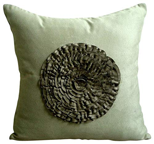 """The HomeCentric Luxury Olive Green Pillow Covers, Modern Floral Pillow Cases, 12""""x12"""" Pillow Case, Faux Suede Square Pillow Cases, Vintage Style Frills Throw Pillows Cover - Vintage Olive Flower"""