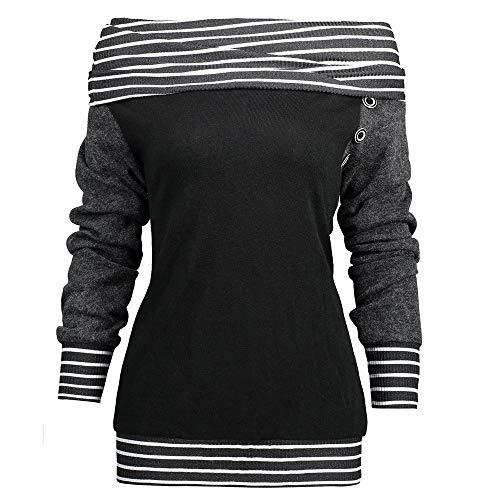 Ray Sweat Femmes Grande La Pas Fashion Vetement Bouton Printemps Chemisier de Patchwork Manches Femme POTTOA Cou Les Mode Top Femme Femme Biais Fille Taille Noir Cher Longues Blouse xOdZC