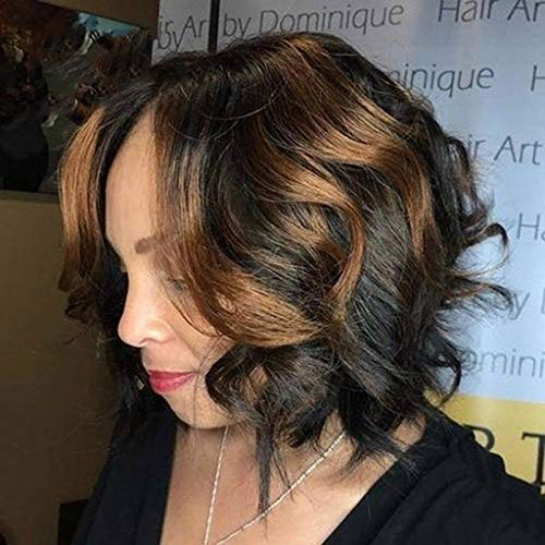 Natural Short Human Hair Wig Bangs Glueless Lace Wigs Brazilian Bob Wave Brown Woman Front (A) -