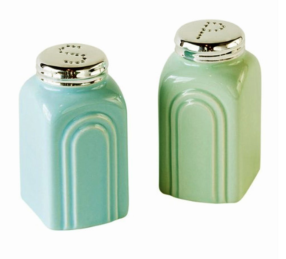 Retro 50's Diner Style Turquoise & Aqua Salt & Pepper Shaker Set, 3.5 Inches 180D HY0080