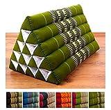 Throw Pillow, 22x16x14 inches (LxWxH), 100 % Natural Kapok Filling, Triangle Cushion, Headrest, Thai Pillow