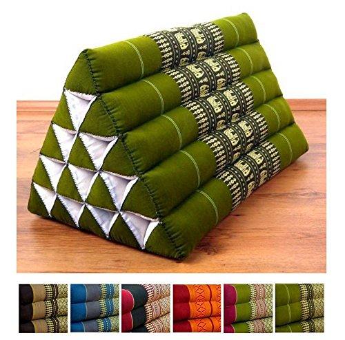 Throw Pillow, 22x16x14 inches (LxWxH), 100 % Natural Kapok Filling, Triangle Cushion, Headrest, Thai Pillow by LivAsia