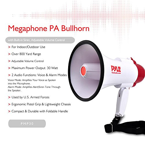 Pyle Megaphone Speaker PA Bullhorn with Built-in Siren - Adjustable Volume Control and 800 Yard Range - Ideal for Football, Soccer, Baseball, Hockey and Basketball Cheerleading Fans and Coaches or for Safety Drills (PMP30)