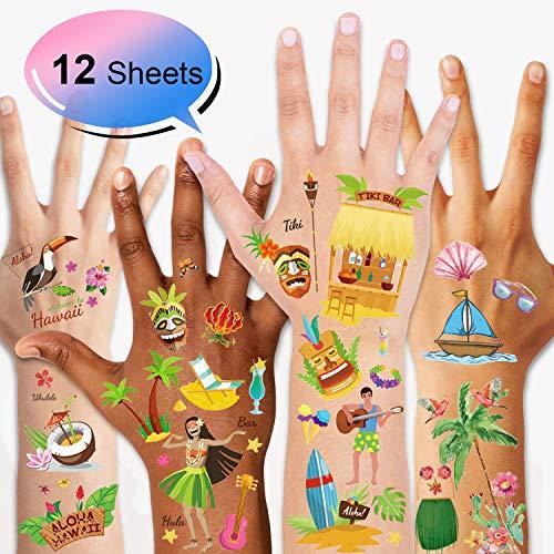 Konsait 12Sheets Luau Hawaiian Themed Temporary Tattoos Waterproof Tropical Tattoos for Hawaiian Beach Summer Pool Party Favors,Tropical Aloha Party Decoration Supplies for Birthday Party Bag Filler