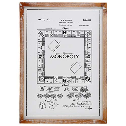 "Barnyard Designs Monopoly Board Game Patent Decor Framed Sign Vintage Farmhouse Country Home Decor 22"" x 15.75"""