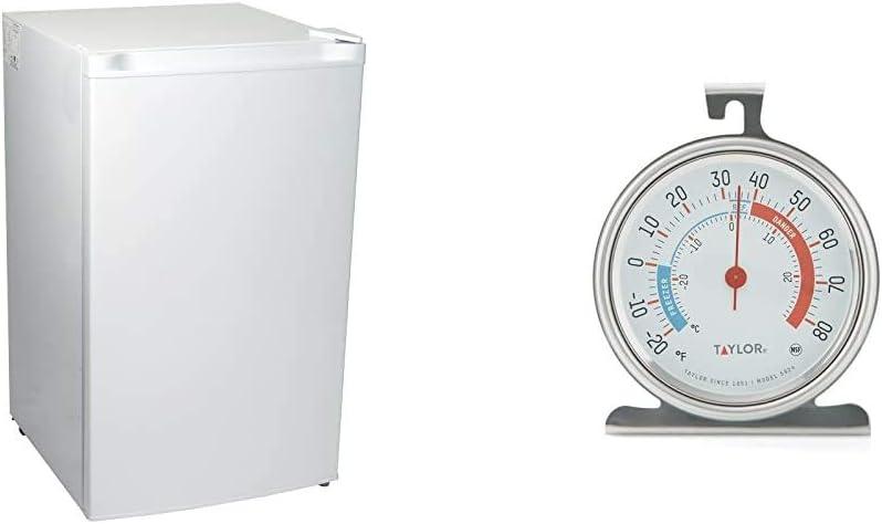 Koolatron KTUF88 3.1 cu. ft. Upright Freezer, White & Taylor Classic Series Large Dial Fridge/Freezer Thermometer