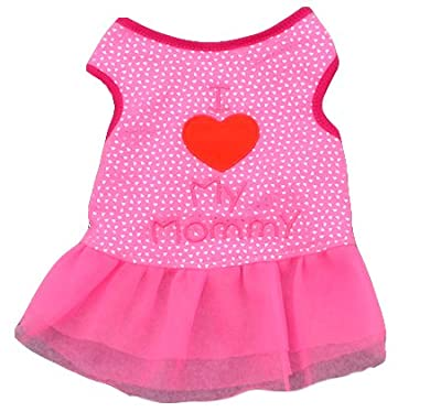 Ollypet Summer Dress for Dogs I Love Mommy Clothes Pink Shirt Cute by Ollypet