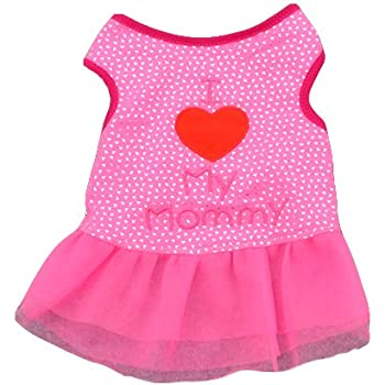 Ollypet Dog Dresses for Small Pets Cat Puppy Clothes for Girls I Love Mommy Summer Outfit Pink Shirt Cute Apparel L