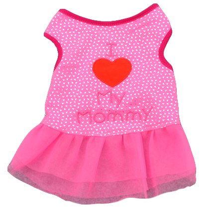 Ollypet Dog Dresses for Small Pets Cat Puppy Clothes for Girls I Love Mommy Summer Outfit Pink Shirt Cute Apparel XS