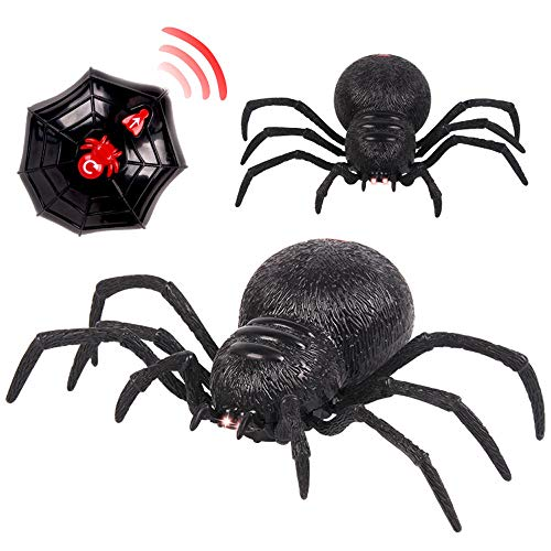 Kasien RC Spider Toy, Remote Control Spider Scary Wolf Spider Robot Realistic Novelty Prank Toys Gifts - Halloween Prank -