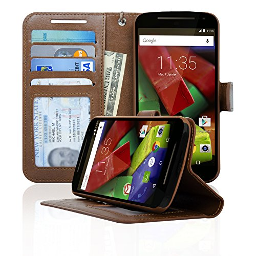 Navor Folio Wallet Case for Motorola Moto G [2nd Gen] 4 Card Slots, Money Pocket (Brown) (Motorola Moto G 2 Phone Case)