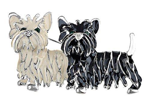 (Alilang Cute Black White Shih Tzu Terrier Dog Puppy Love Enamel Cartoon Furry Animal Brooch Pin)