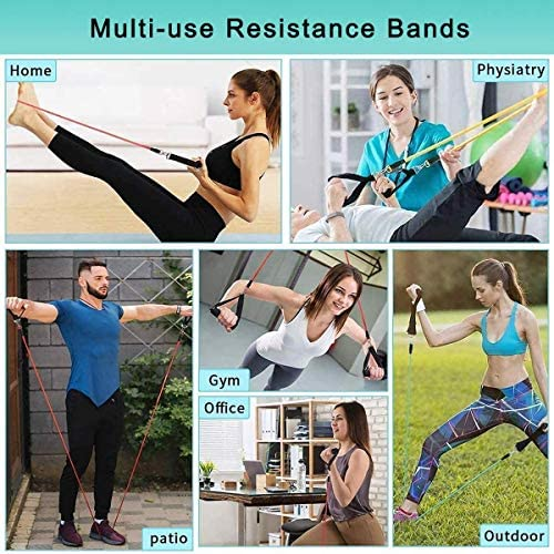 Resistance Bands Set with Handle,Fabric Exercise Band Door Anchor Weight Training Stretching Strap for Women Men Home Fitness Yoga Gym Workout Equipment with Carry Bag(12pcs,150 LB) 7