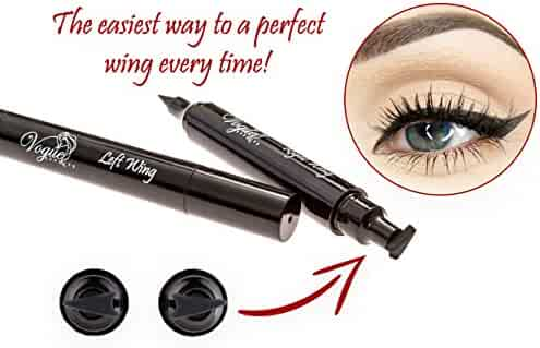 Eyeliner Stamp – by Vogue Effects Black, waterproof, smudgeproof, winged long lasting liquid eye liner pen, Vamp style wing, No Dipping required. 2 Pens (10mm Classic)