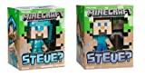 """Minecraft Exclusive Diamond Steve & Regular Steve 6"""" Vinyl Toy Figure Set of 2 / Official Product From Mojang"""