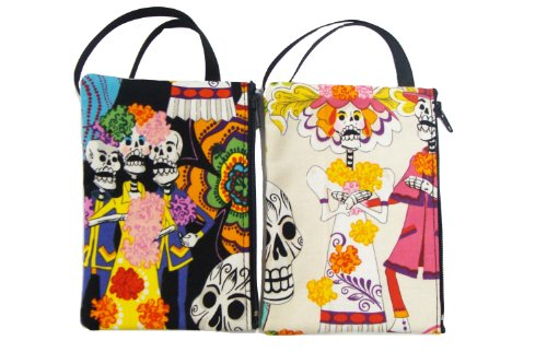 WHOLESALE, US Handmade Fashion A Pack of 6 Piece Electronic device clutch purse, pouch wristband makeup bag, cosmetic bag SKULLS LOS NOVIOS Day of the Dead Rocakbilly Handmade handbag purse (Rockabilly Halloween Mix)