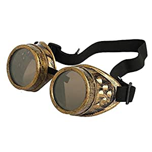Vintage Steampunk Goggles Goth Rustic Cyber Goggles Welding Cosplay Photos Accessory (Brass)