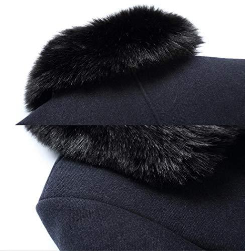 In Ljxwh Collo Uomo Imbottito Staccabile L Dimensioni colore Invernale Pelliccia Cappotto Giacca Nero Lana Da Trench Nero Caldo qc5gp5