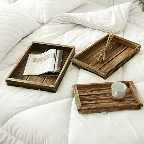 Coffee Breakfast Set - Set of 3 Torched Wood Crate Nesting Serving Trays, Breakfast & coffee tray table, Decorative Display Tray