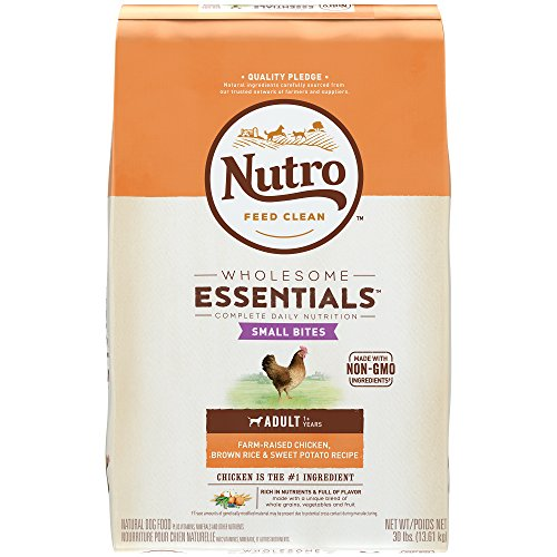 Bites Dog Food - NUTRO WHOLESOME ESSENTIALS Natural Adult Dry Dog Food Small Bites Farm-Raised Chicken, Brown Rice & Sweet Potato Recipe, 30 lb. Bag