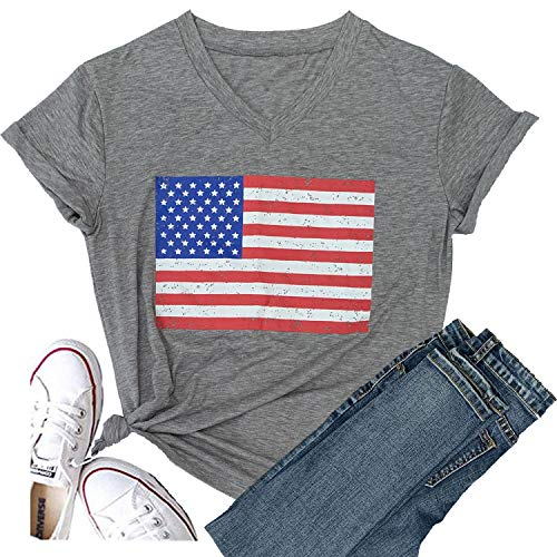 Women Faith Family Freedom USA American Flag Short Sleeve Graphic Tees Baseball Funny T Shirts Causal Cute Summer Tops Blouse (XX-Large, Flag-Gray)