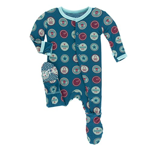 Kickee Pants Little Boys Print Footie With Snaps - Soda Pop Caps, 0-3 Months ()