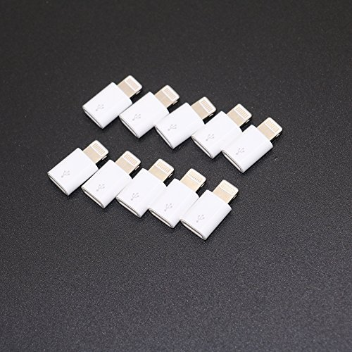 IDS Micro USB to 8 Pin Lightning Converters Android Micro USB Transfer to Apple IOS Lightning Port 10 Pack