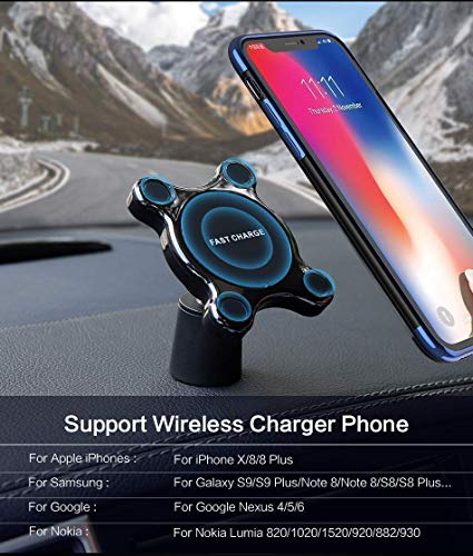QI Fast Magnetic Wireless CAR Charger Mount for All QI Enabled Devices iPhone 8/8S/8plus/X Samsung Note 8/S8/ S8 Plus / S7 / S6 Phone Mount Charger Fast Charge Easy Dash Vent Mount by W.A.C (Image #4)