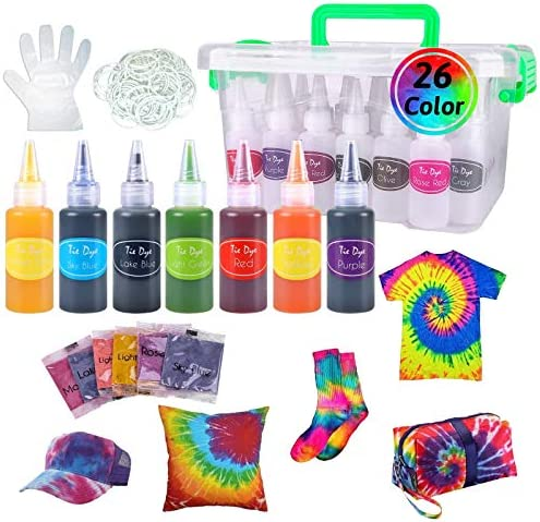 Lya Vinyl Tye Dye Kit, 26 Colors Fabric Dye Art Set with 120 Rubber Bands, 10 Gloves, Color Label, 2 Table Covers and Instruction for Kids, Craft Arts Fabric Textile, Party Handmade Project